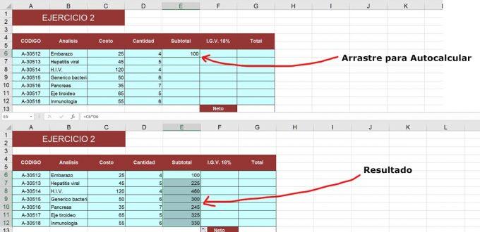 Diferentes Formas de Autocalcular o Rellenar en Excel