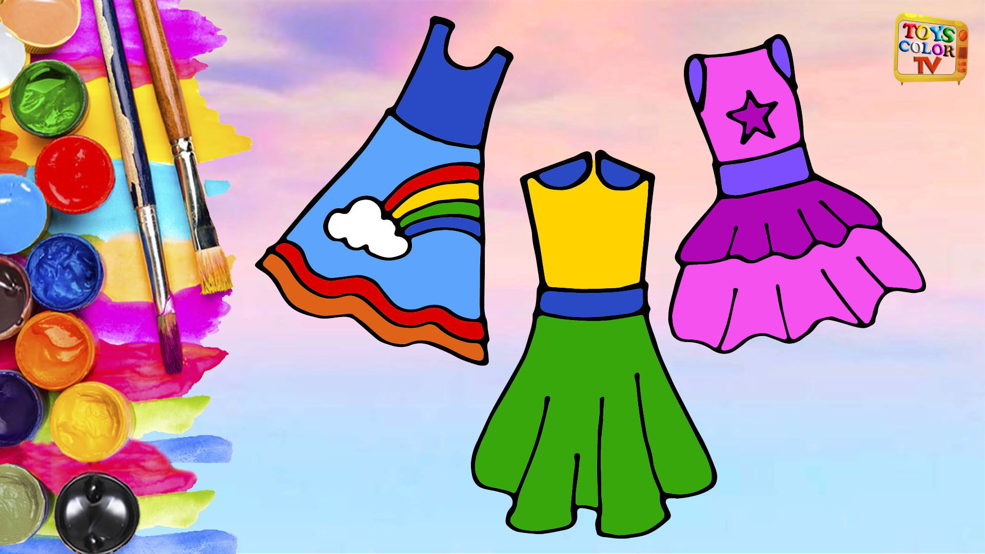 How to Draw Dresses for Girls, Coloring Pages Dress, Art Colors for Kids, Toys Color TV