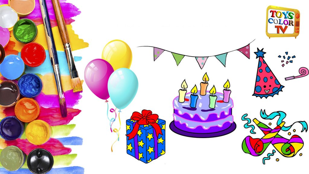 How to Draw a Birthday Party Set for Kids, Coloring Pages Cake, Presents, Hat, Balloons, Toys Col