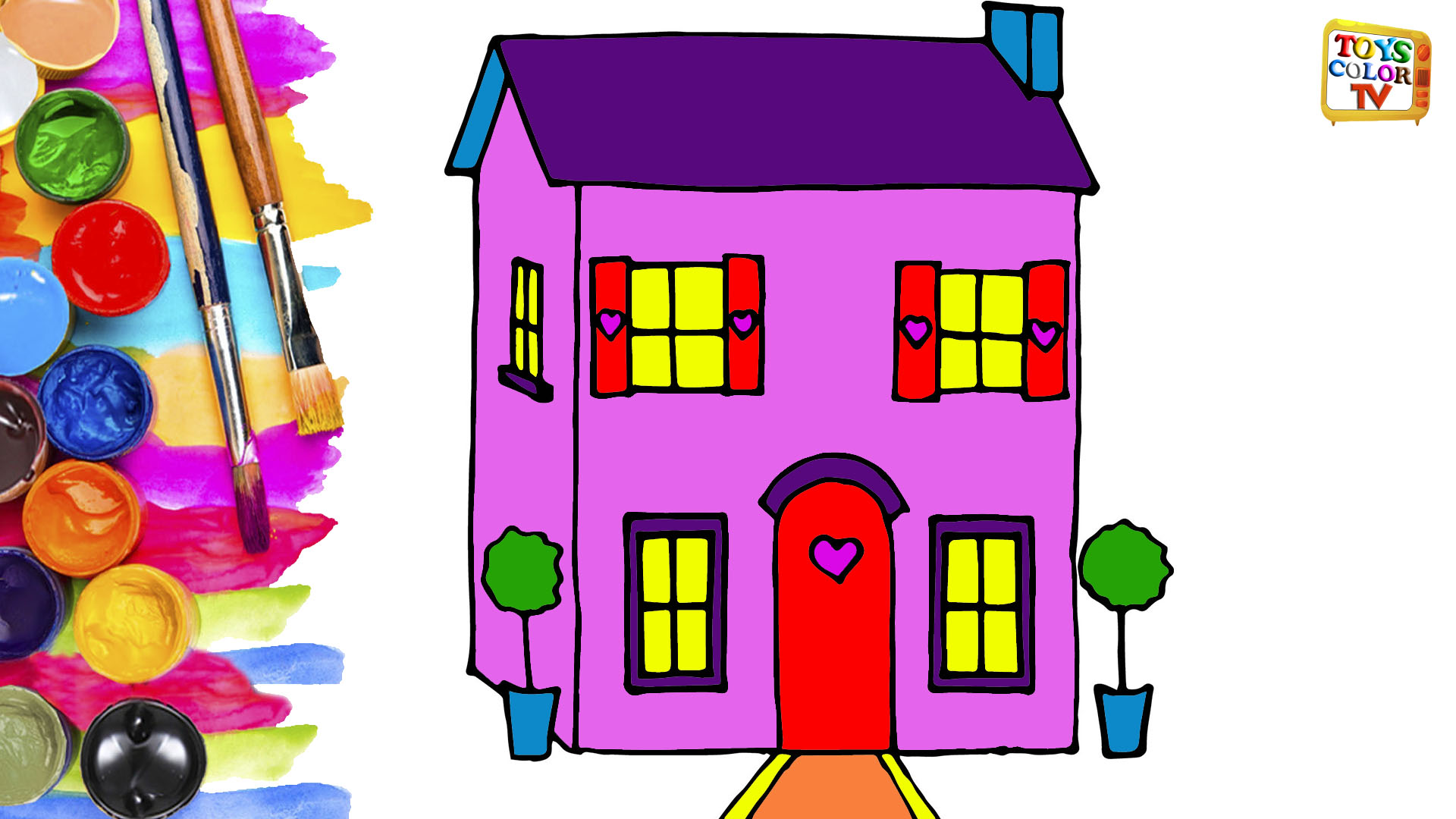 's House, Art Colours for Kids with Colored Markers, Toys Color TV
