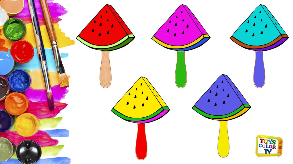 Watermelon Coloring Pages How To Draw Watermelon And Coloring For Kids Baby Toys Color