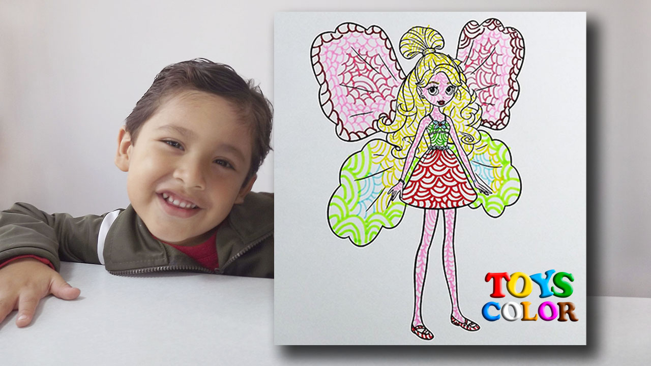 Como Dibujar y Colorear a Barbie Mariposa, Aprender los Colores, Coloring Pages Barbie