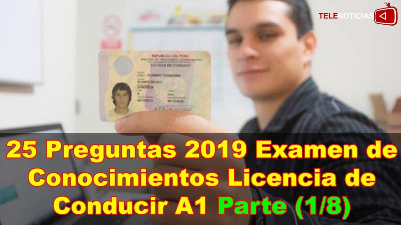 (1/8) 25 Preguntas 2019 para Examen Licencia de Conducir A1 Sacar Brevete A1 Brevetes Noticias Perú